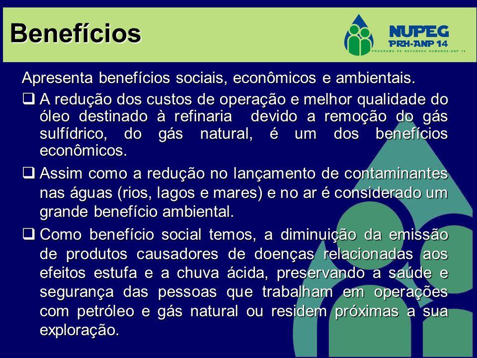 Benefícios Apresenta benefícios sociais, econômicos e ambientais.