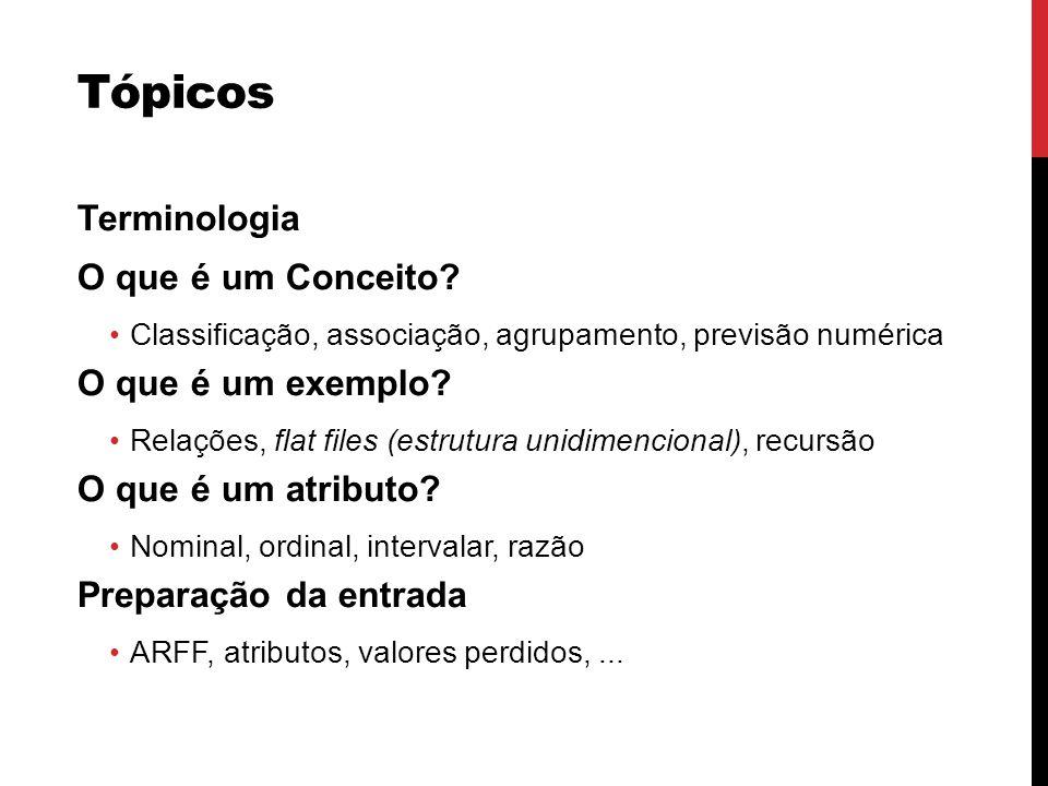 Tópicos Terminologia O que é um Conceito O que é um exemplo