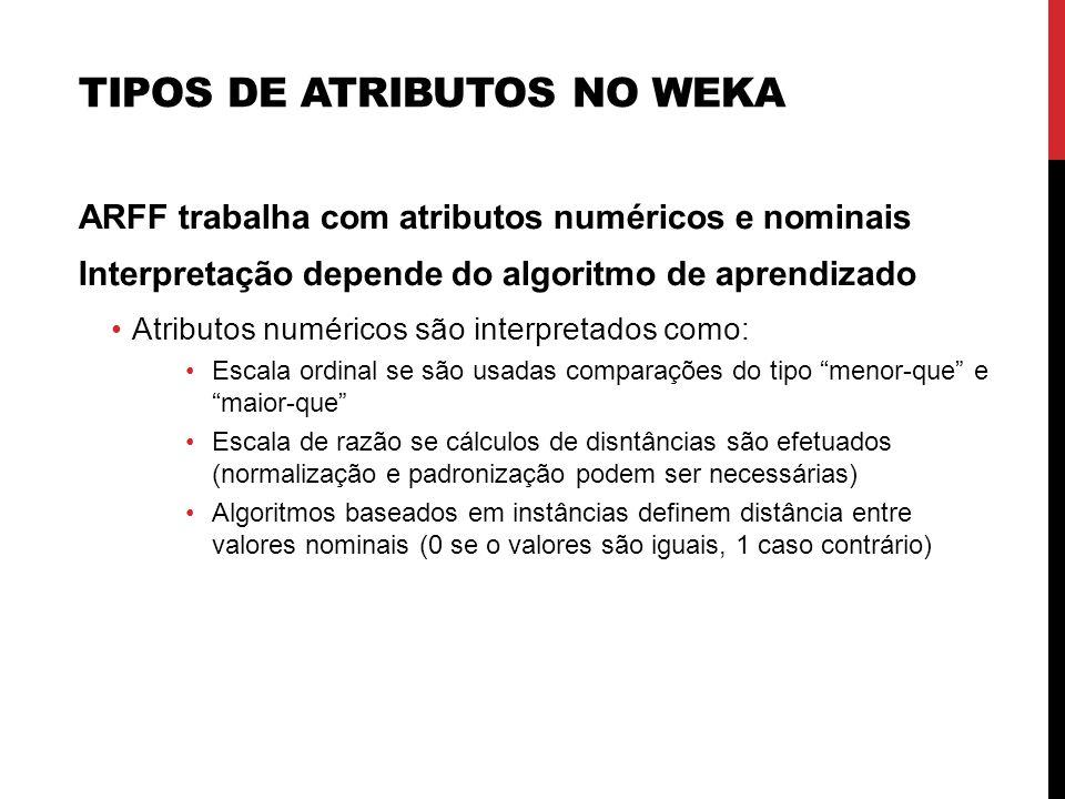Tipos de Atributos no WEKA