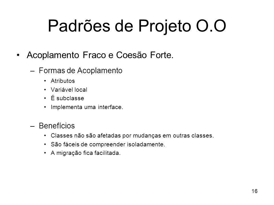 Padrões de Projeto O.O Acoplamento Fraco e Coesão Forte.