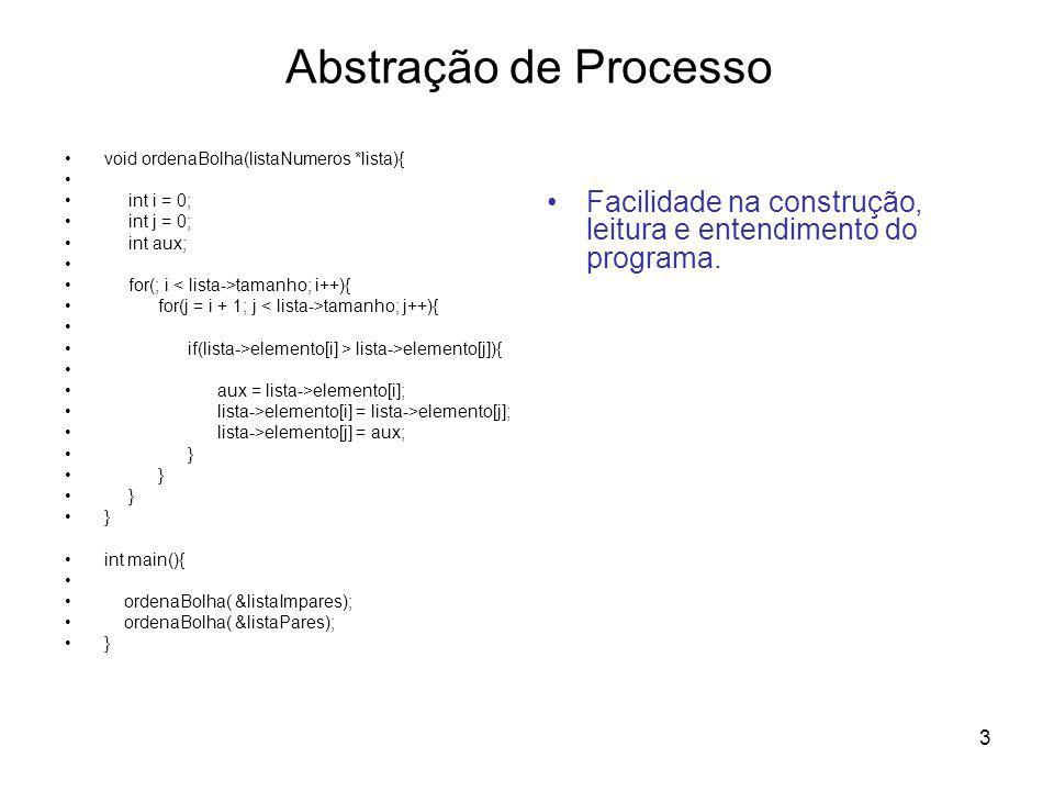 Abstração de Processo void ordenaBolha(listaNumeros *lista){ int i = 0; int j = 0; int aux; for(; i < lista->tamanho; i++){