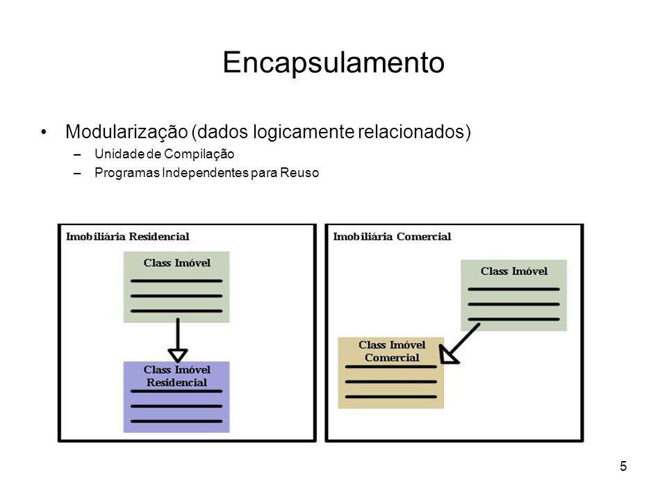 Encapsulamento Modularização (dados logicamente relacionados)