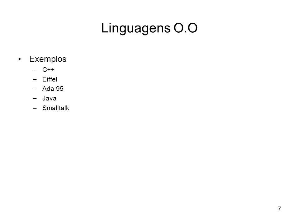 Linguagens O.O Exemplos C++ Eiffel Ada 95 Java Smalltalk