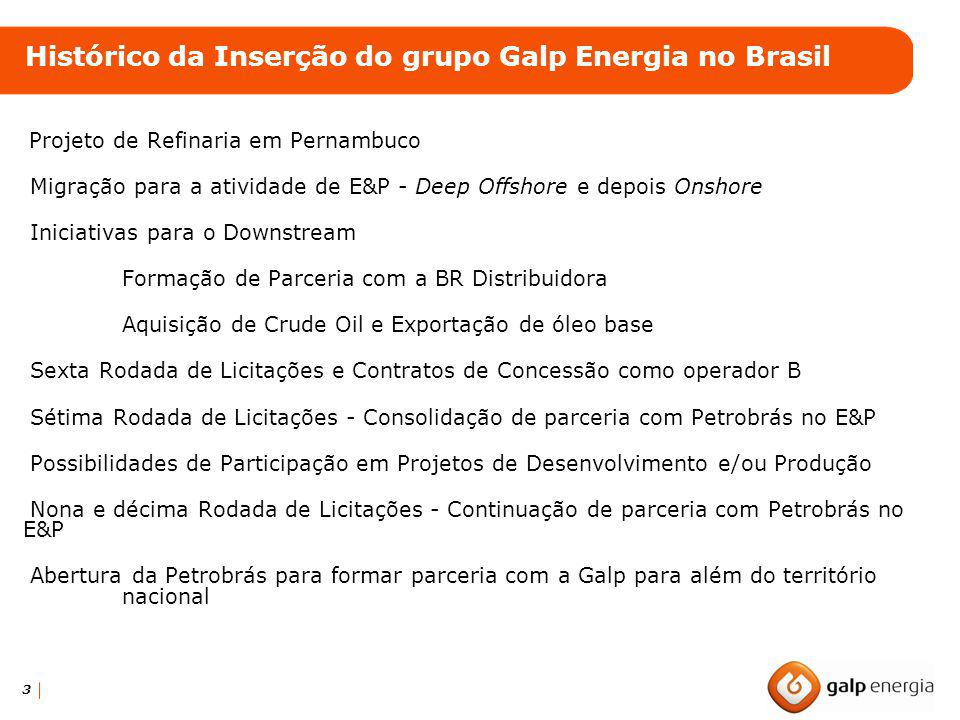 Histórico da Inserção do grupo Galp Energia no Brasil