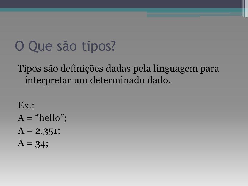 O Que são tipos. Tipos são definições dadas pela linguagem para interpretar um determinado dado.