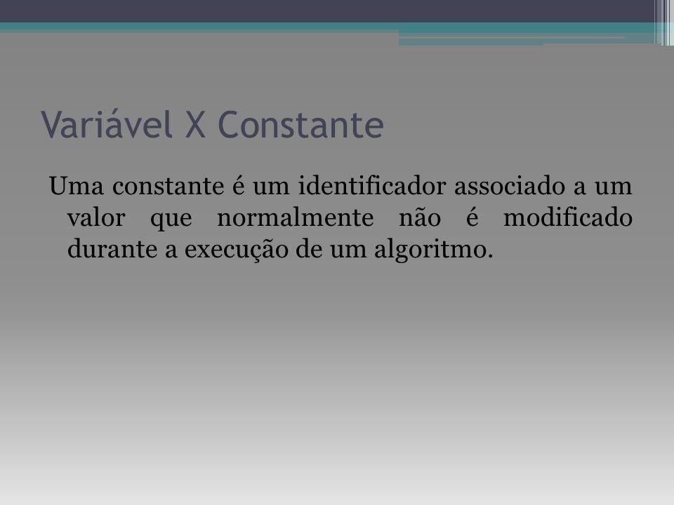 Variável X Constante Uma constante é um identificador associado a um valor que normalmente não é modificado durante a execução de um algoritmo.