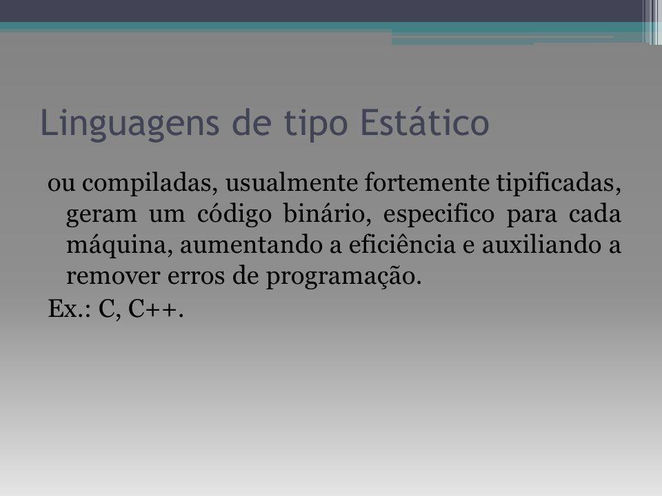 Linguagens de tipo Estático