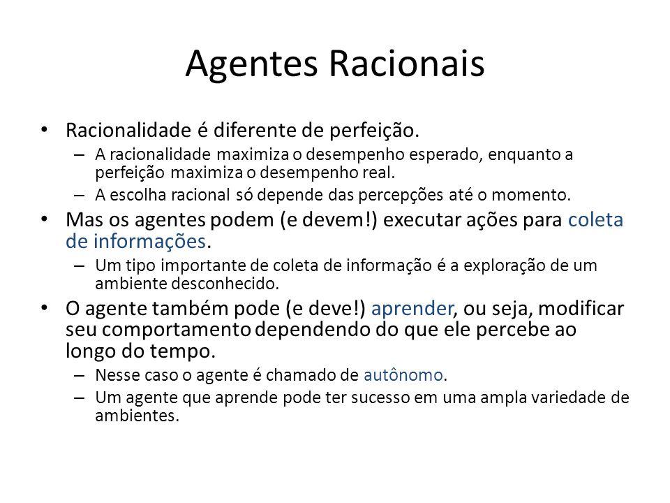Agentes Racionais Racionalidade é diferente de perfeição.
