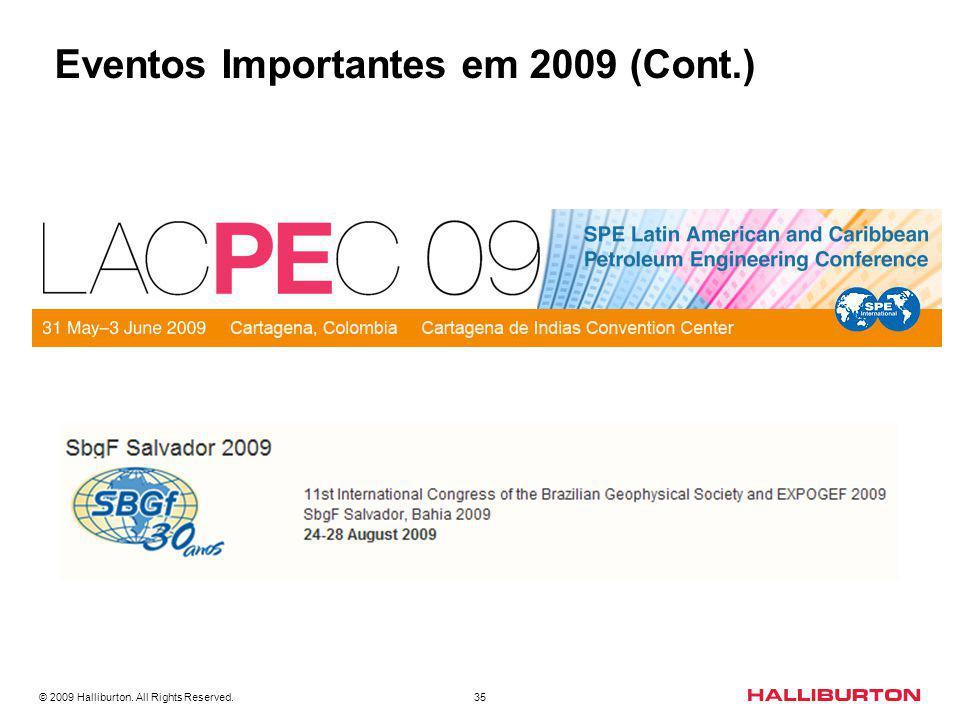 Eventos Importantes em 2009 (Cont.)