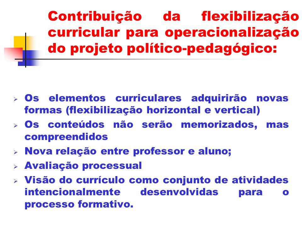 Contribuição da flexibilização curricular para operacionalização do projeto político-pedagógico: