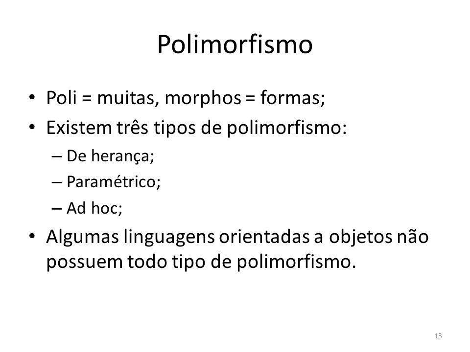 Polimorfismo Poli = muitas, morphos = formas;