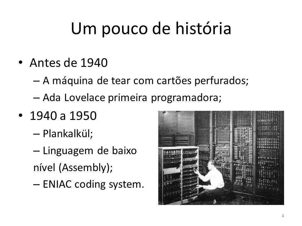 Um pouco de história Antes de 1940 1940 a 1950