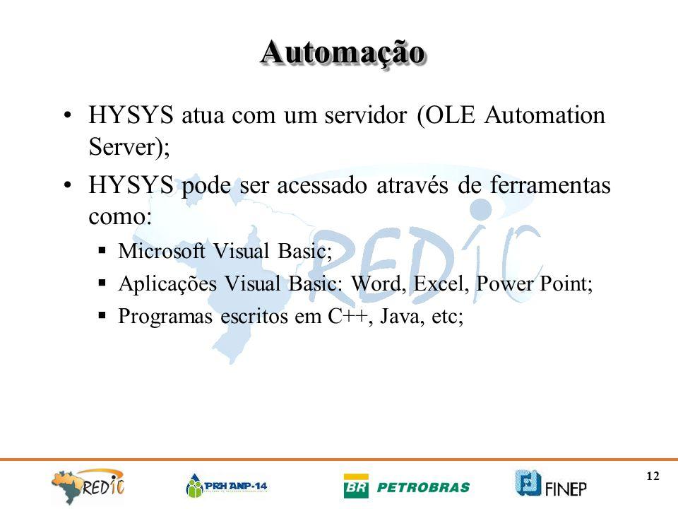 Automação HYSYS atua com um servidor (OLE Automation Server);