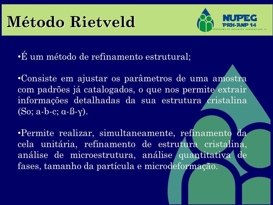 Método Rietveld É um método de refinamento estrutural;