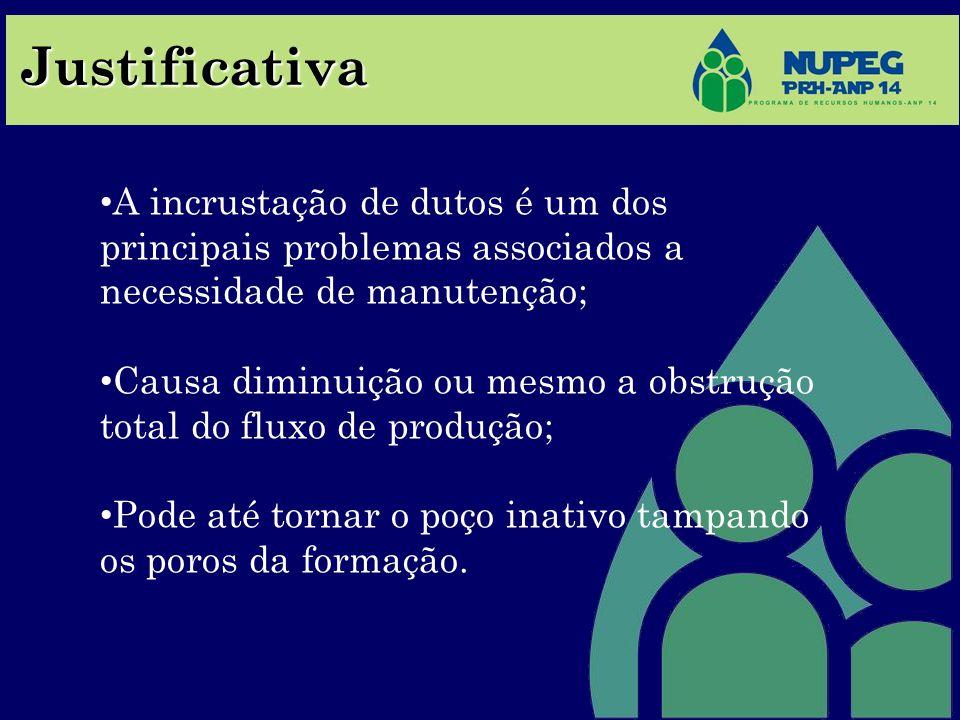 Justificativa A incrustação de dutos é um dos principais problemas associados a necessidade de manutenção;