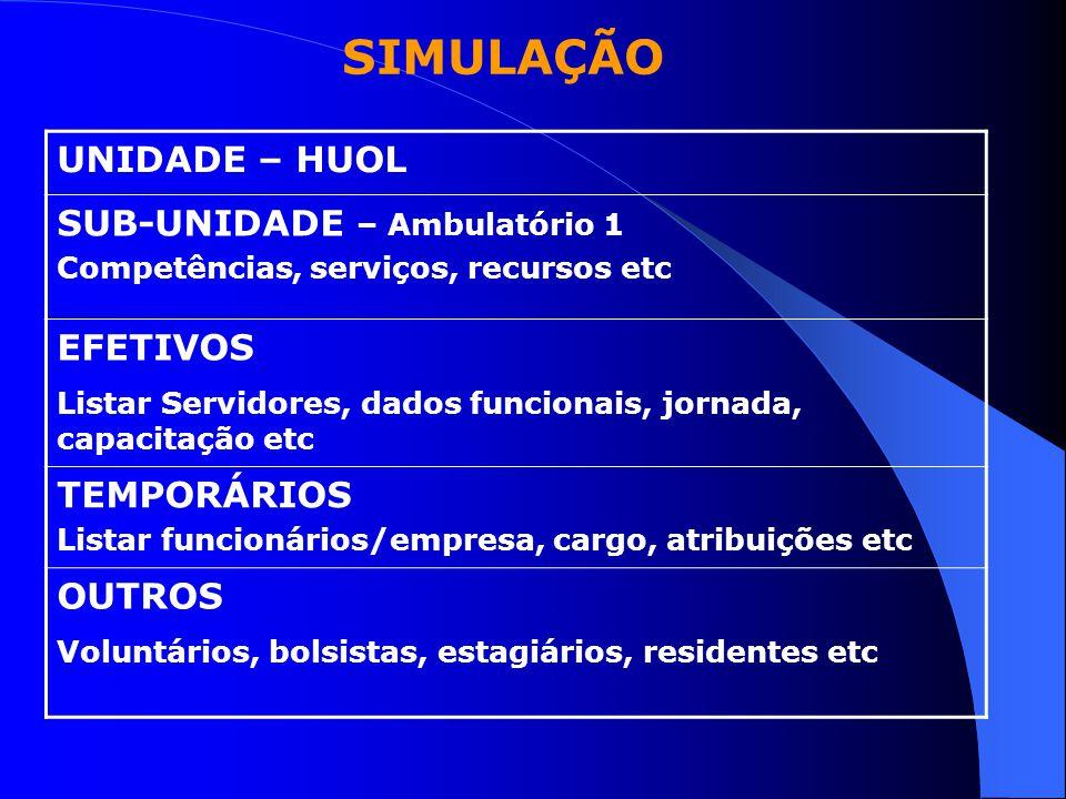 SIMULAÇÃO UNIDADE – HUOL SUB-UNIDADE – Ambulatório 1 EFETIVOS