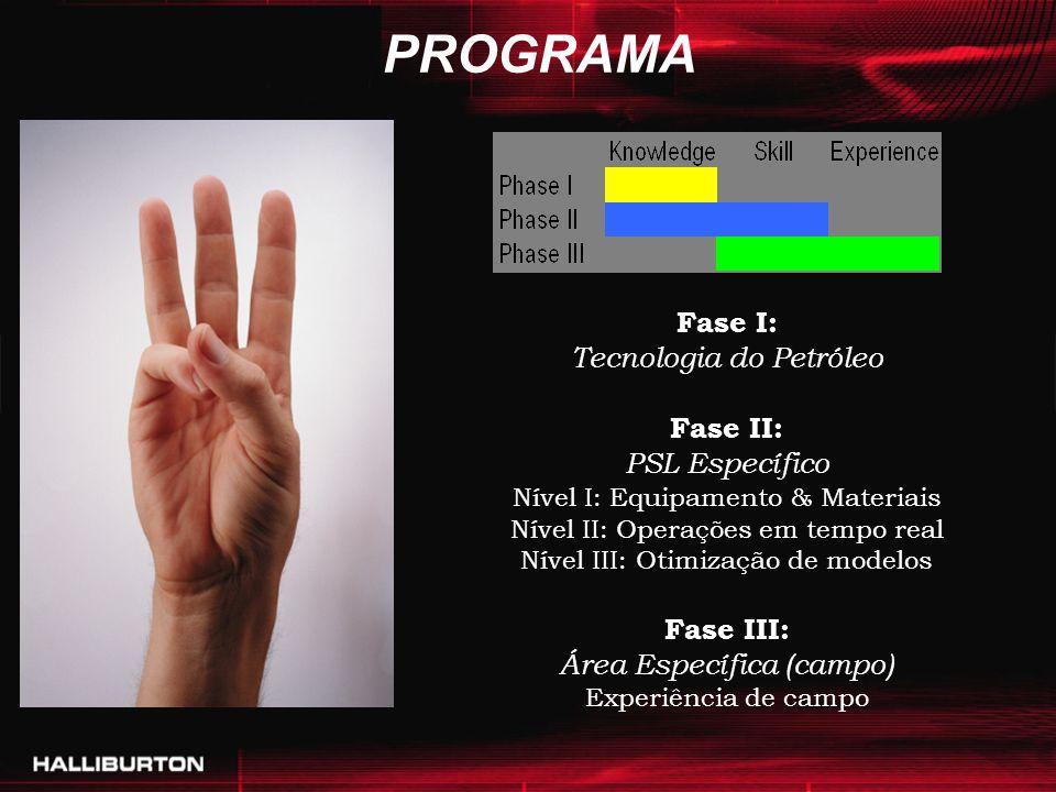 PROGRAMA Fase I: Tecnologia do Petróleo Fase II: PSL Específico