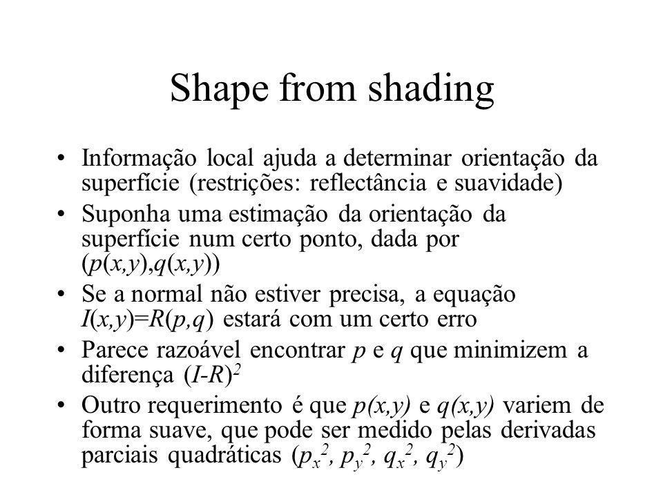 Shape from shading Informação local ajuda a determinar orientação da superfície (restrições: reflectância e suavidade)