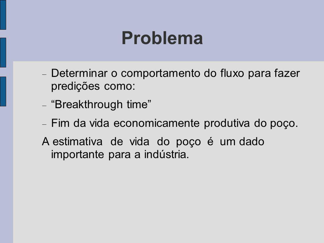 Problema Determinar o comportamento do fluxo para fazer predições como: Breakthrough time Fim da vida economicamente produtiva do poço.