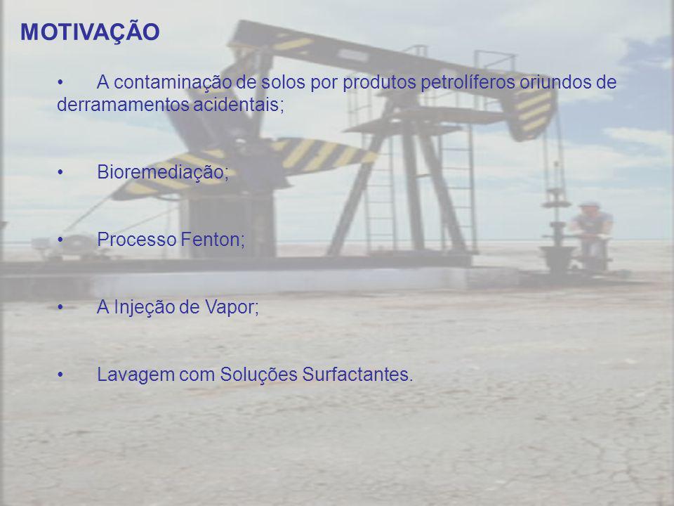 MOTIVAÇÃO A contaminação de solos por produtos petrolíferos oriundos de derramamentos acidentais; Bioremediação;