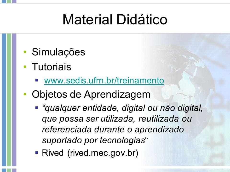 Material Didático Simulações Tutoriais Objetos de Aprendizagem