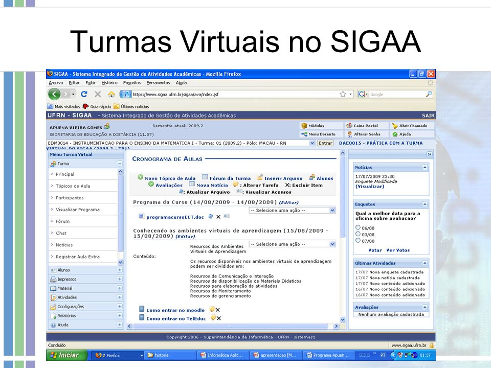 Turmas Virtuais no SIGAA