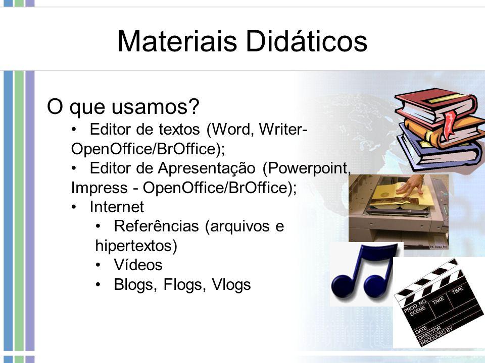 Materiais Didáticos O que usamos
