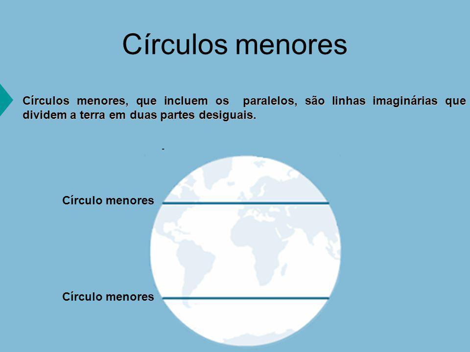 Círculos menores Círculos menores, que incluem os paralelos, são linhas imaginárias que dividem a terra em duas partes desiguais.