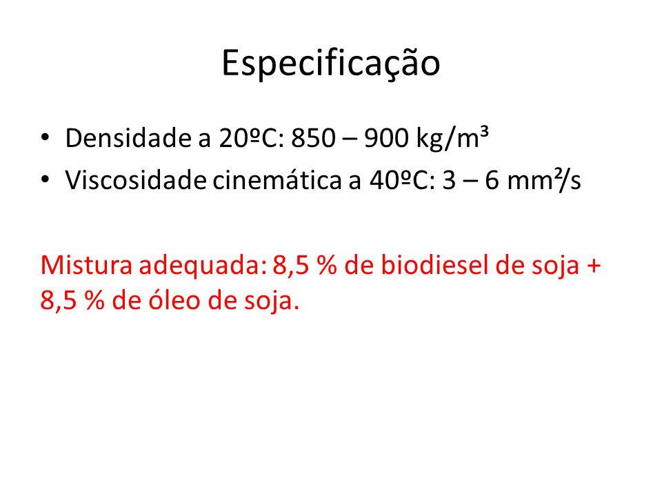 Especificação Densidade a 20ºC: 850 – 900 kg/m³