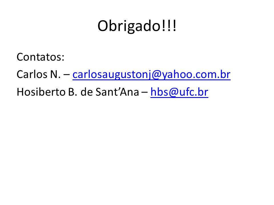 Obrigado!!. Contatos: Carlos N. – carlosaugustonj@yahoo.com.br Hosiberto B.