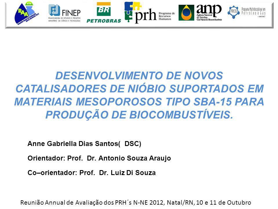 DESENVOLVIMENTO DE NOVOS CATALISADORES DE NIÓBIO SUPORTADOS EM MATERIAIS MESOPOROSOS TIPO SBA-15 PARA PRODUÇÃO DE BIOCOMBUSTÍVEIS.