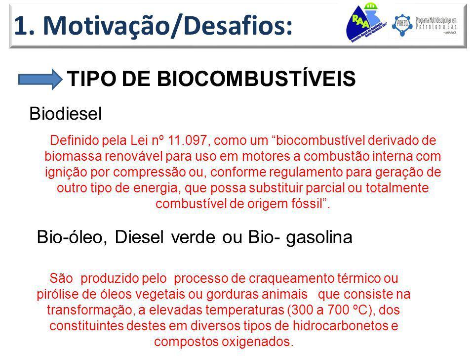 1. Motivação/Desafios: TIPO DE BIOCOMBUSTÍVEIS Biodiesel
