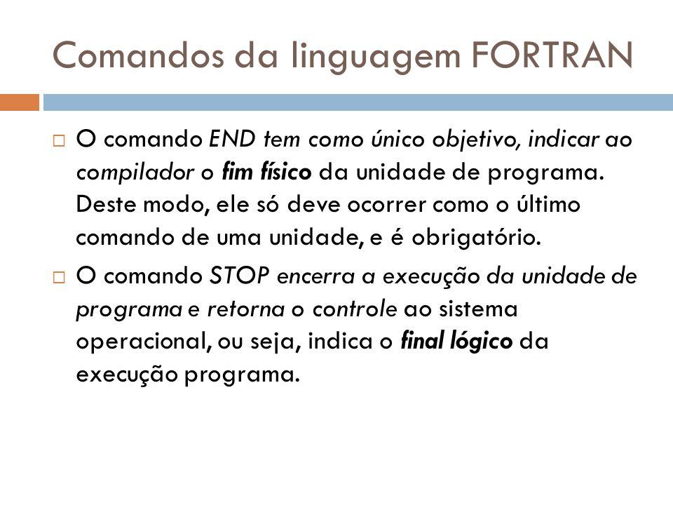 Comandos da linguagem FORTRAN