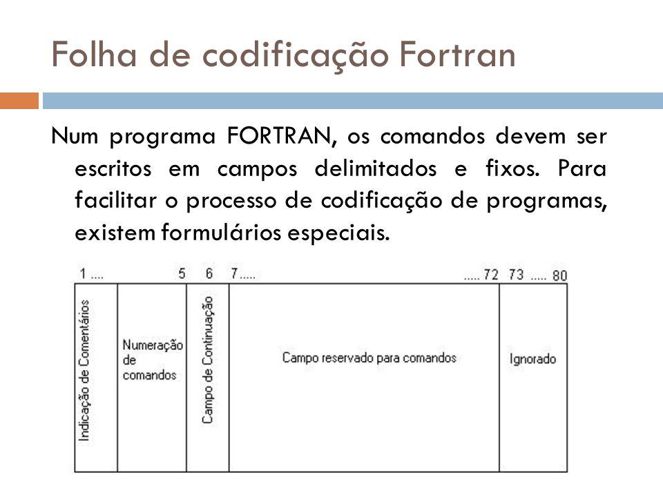 Folha de codificação Fortran