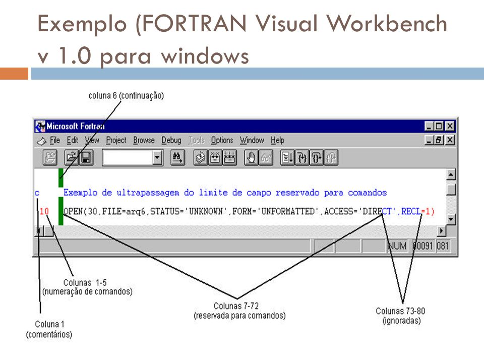 Exemplo (FORTRAN Visual Workbench v 1.0 para windows