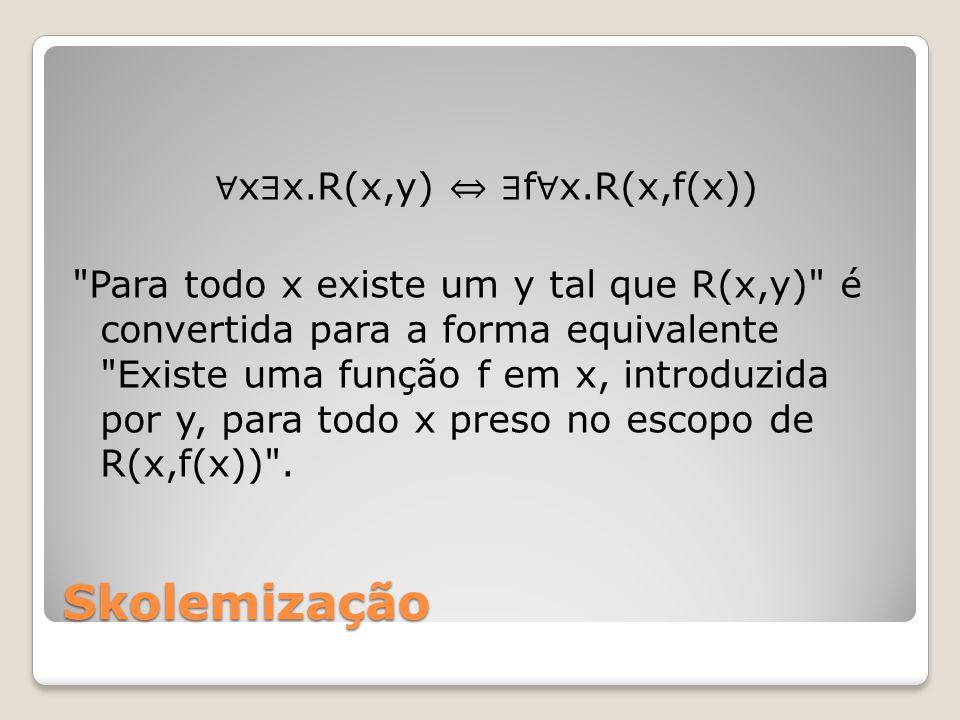 ∀x∃x.R(x,y) ⇔ ∃f∀x.R(x,f(x)) Para todo x existe um y tal que R(x,y) é convertida para a forma equivalente Existe uma função f em x, introduzida por y, para todo x preso no escopo de R(x,f(x)) .