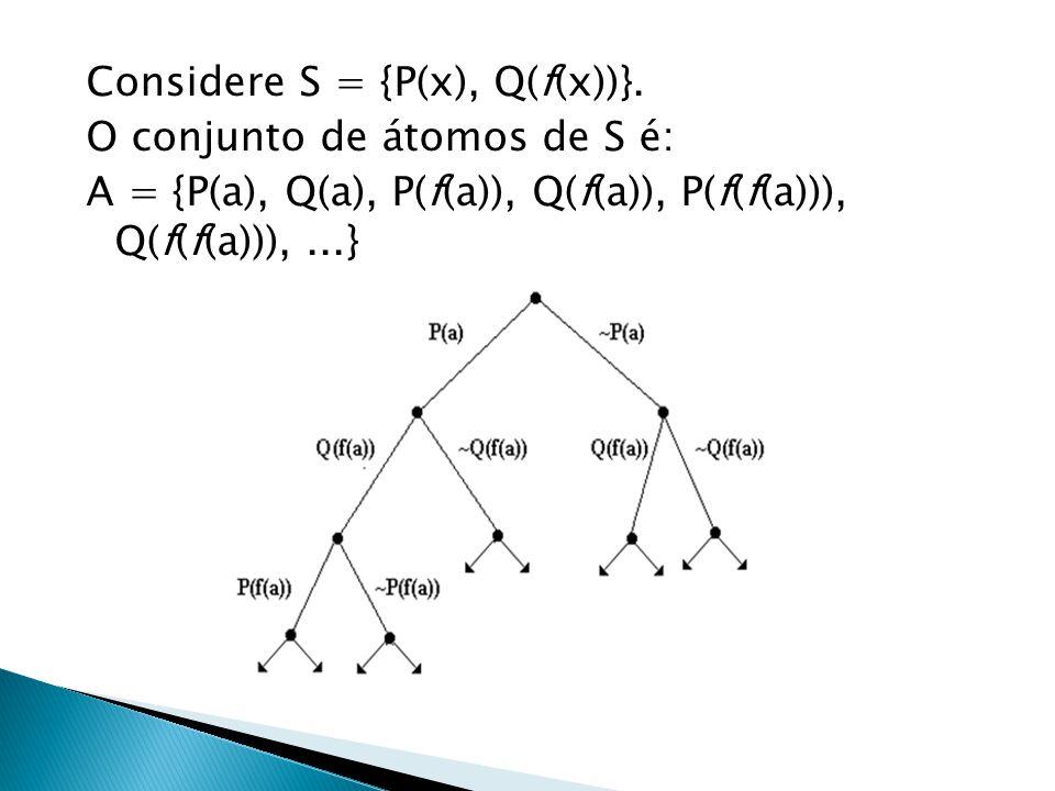 Considere S = {P(x), Q(f(x))}. O conjunto de átomos de S é: