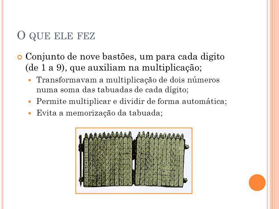 O que ele fez Conjunto de nove bastões, um para cada digito (de 1 a 9), que auxiliam na multiplicação;