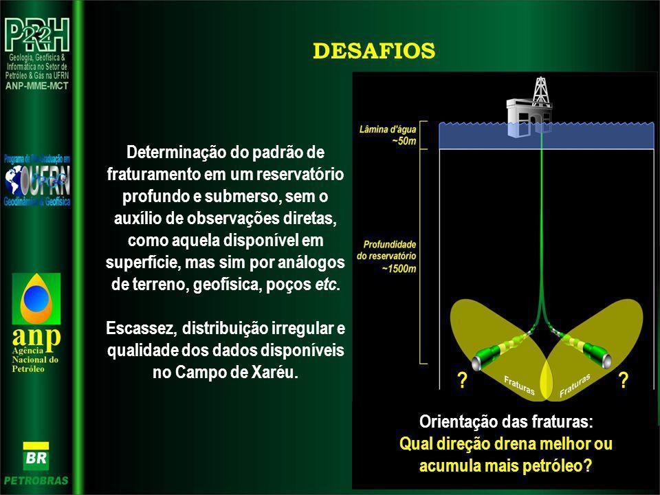 DESAFIOS Orientação das fraturas: Qual direção drena melhor ou acumula mais petróleo