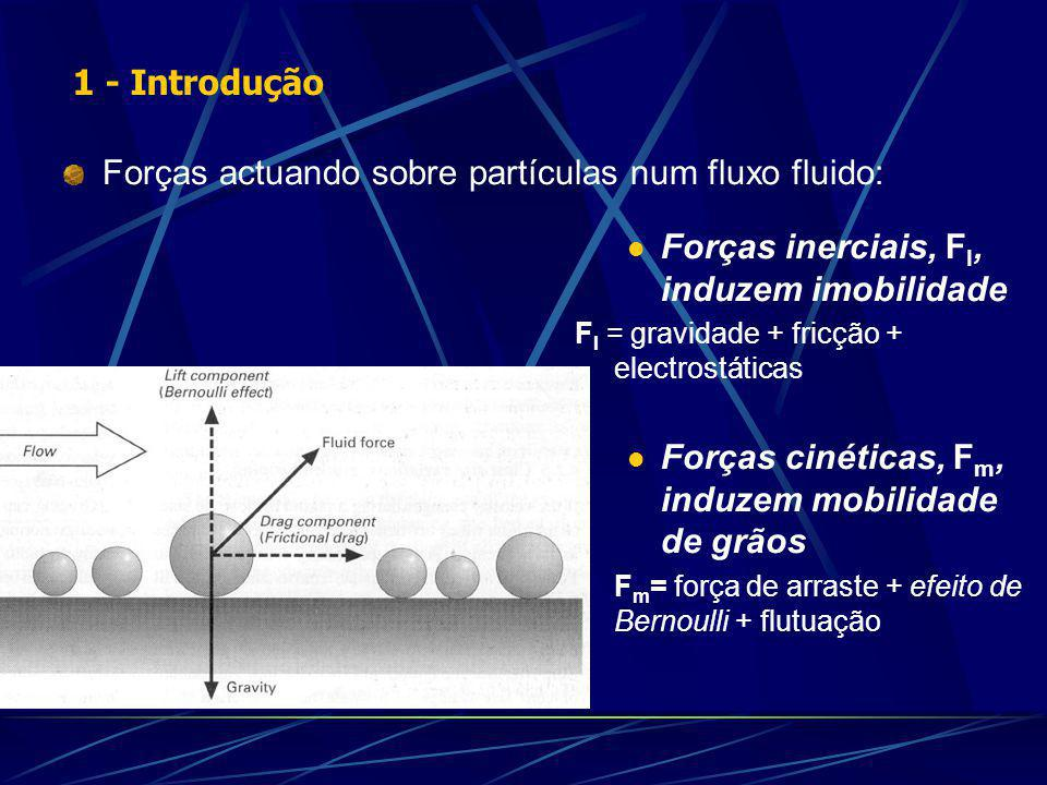 Forças actuando sobre partículas num fluxo fluido: