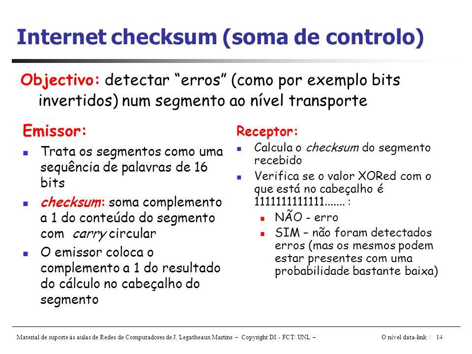 Internet checksum (soma de controlo)