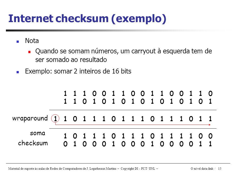 Internet checksum (exemplo)