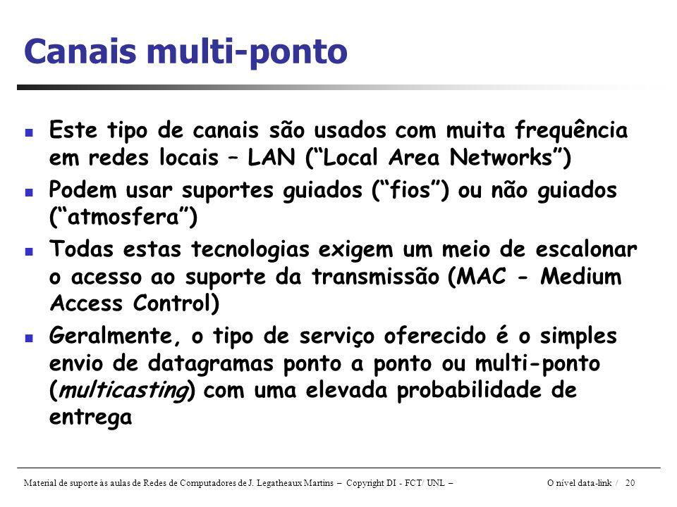 Canais multi-ponto Este tipo de canais são usados com muita frequência em redes locais – LAN ( Local Area Networks )