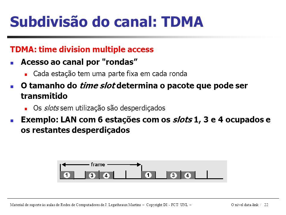 Subdivisão do canal: TDMA