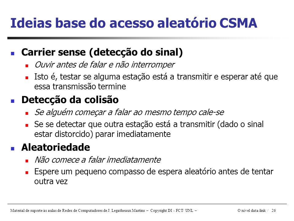 Ideias base do acesso aleatório CSMA