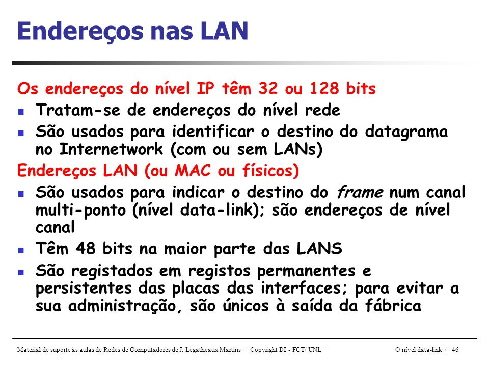 Endereços nas LAN Os endereços do nível IP têm 32 ou 128 bits