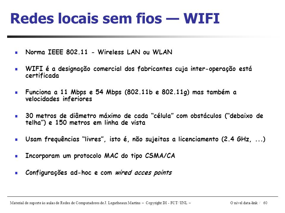 Redes locais sem fios — WIFI