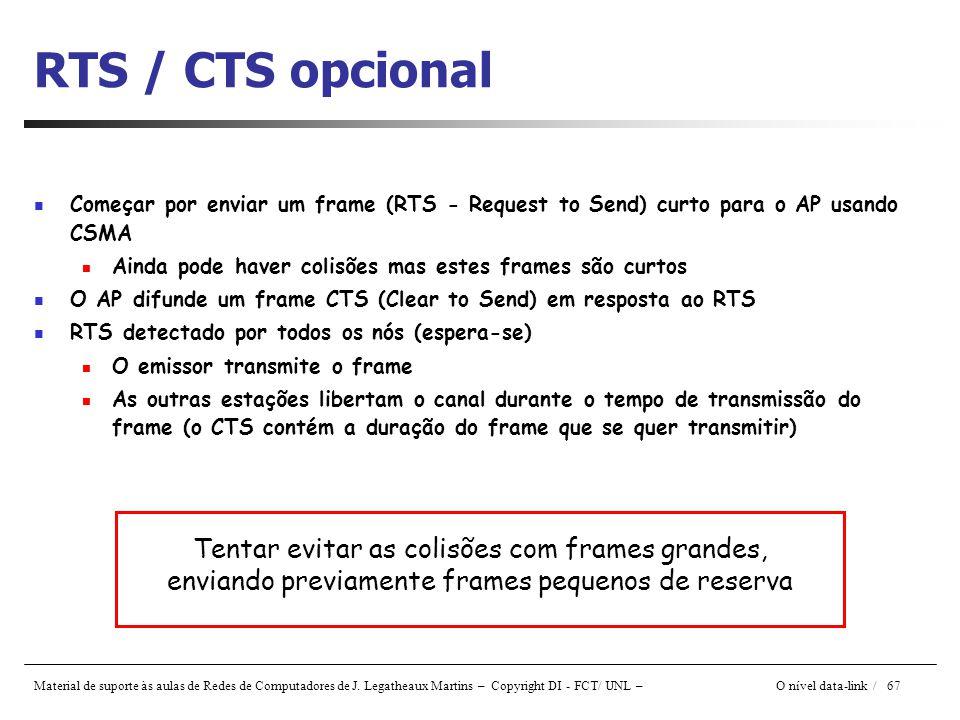 RTS / CTS opcional Começar por enviar um frame (RTS - Request to Send) curto para o AP usando CSMA.