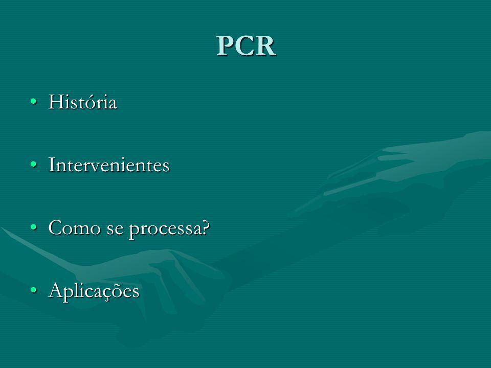 PCR História Intervenientes Como se processa Aplicações