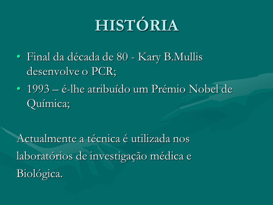 HISTÓRIA Final da década de 80 - Kary B.Mullis desenvolve o PCR;